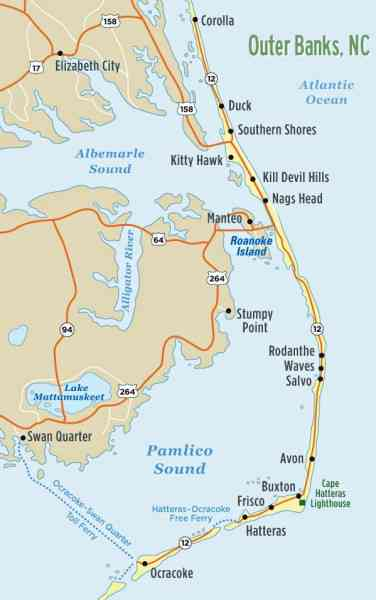 map of outer banks nc 66 Map Of Outer Banks Nc