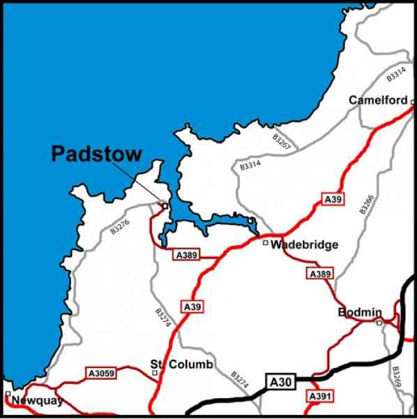 Map Of Padstow HolidayMapQcom