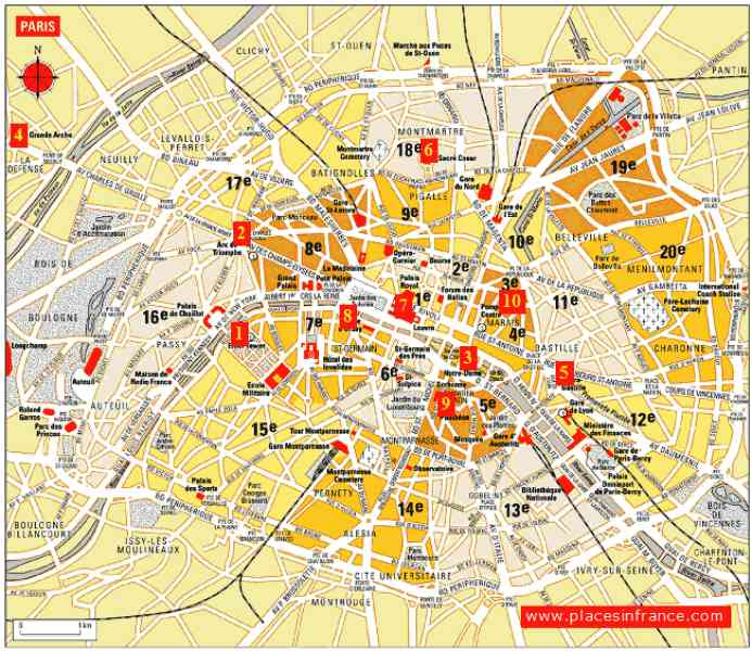 map of paris with attractions