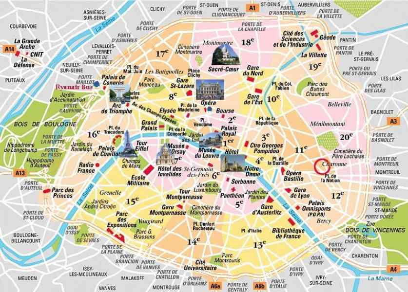 Map Of Paris With Attractions – Tourist Attractions Map In Paris