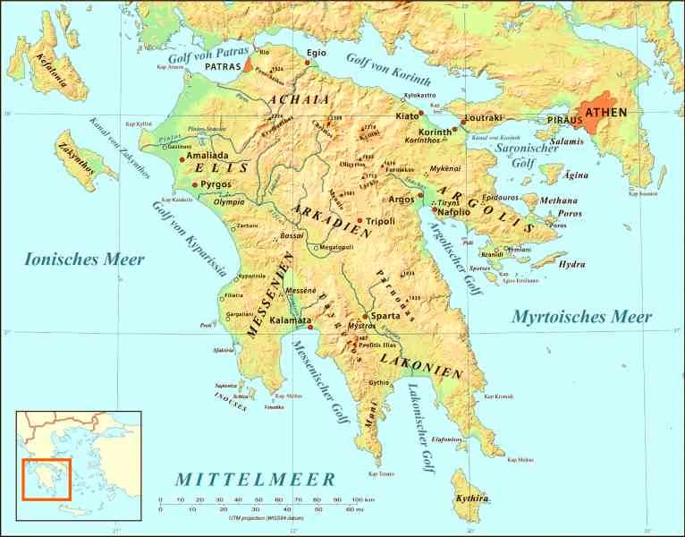 map of peloponnese 8 Map Of Peloponnese