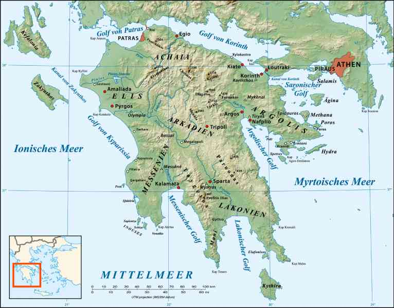 map of peloponnese 99 Map Of Peloponnese