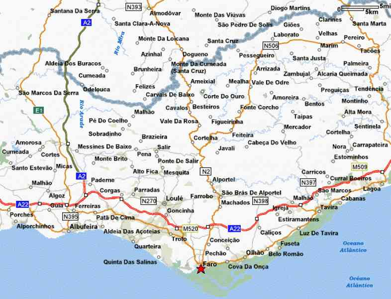 map of portugal algarve 580 Map Of Portugal Algarve