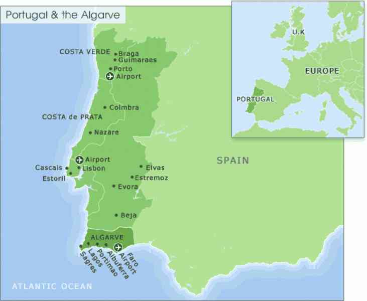 Map Of Portugal Algarve Map Holiday Travel HolidayMapQcom - Portugal map size