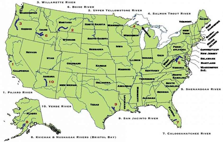 Map Of Rivers In America Map Holiday Travel HolidayMapQcom - Maps of rivers in usa