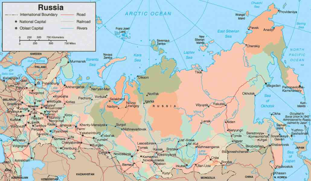 Map Of Russia With Rivers Holiday Map Q Holidaymapq Com