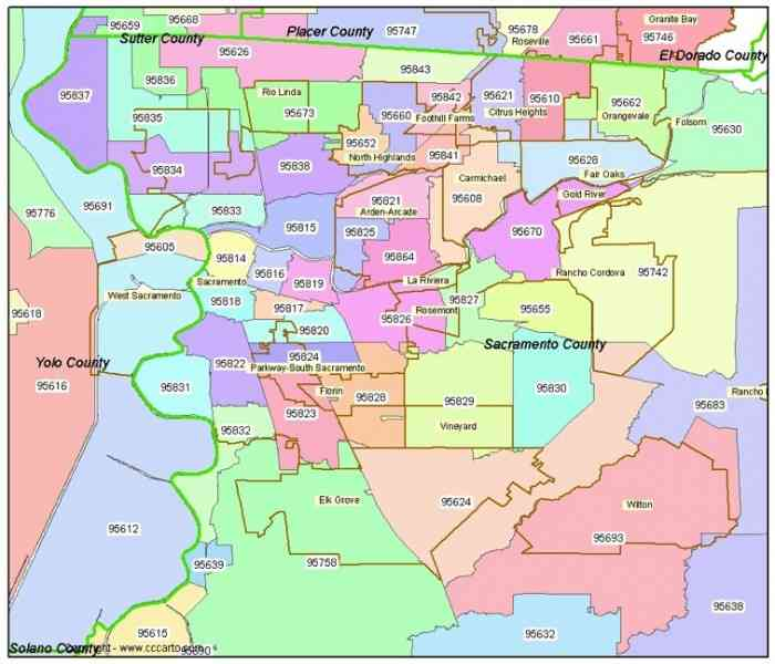 Map Of Sacramento Zip Codes  Map  Holiday  Travel