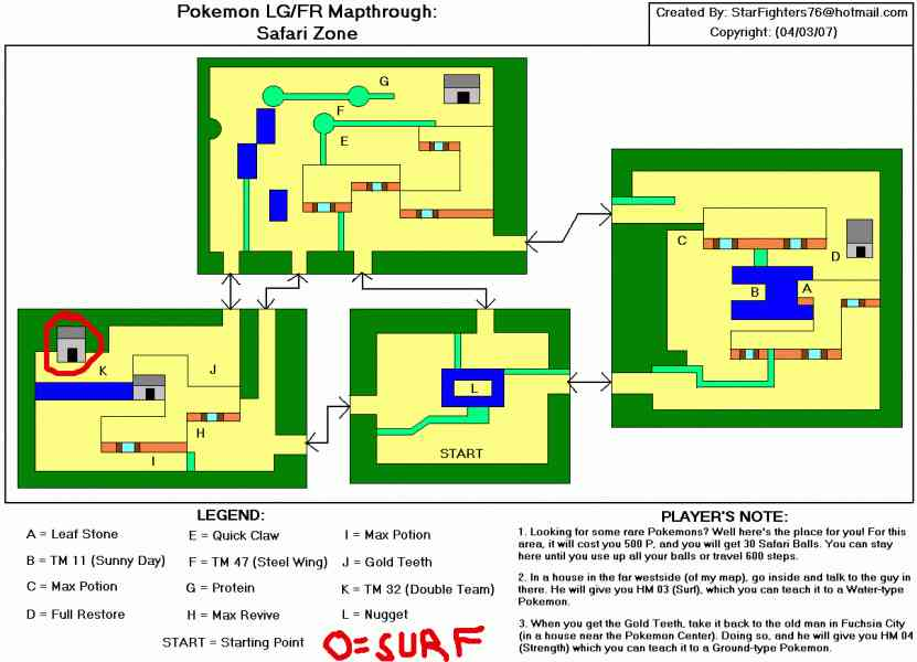 Map Of Safari Zone Leaf Green   HolidayMapQ.®