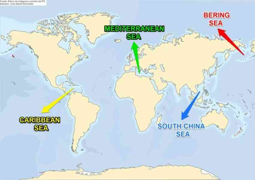 Map of seas of the world holidaymapq map of seas of the world gumiabroncs Image collections