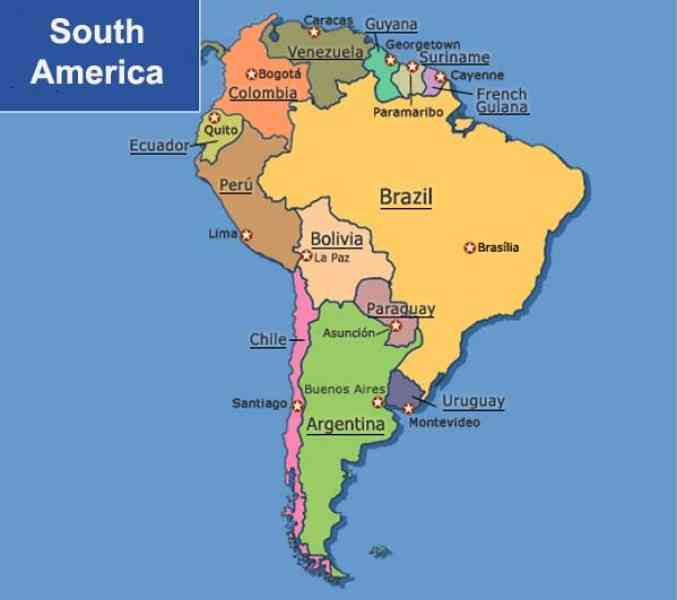Map Of South America With Capitals   HolidayMapQ.®