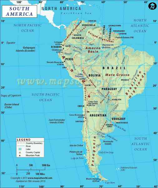 map of south america with capitals 584 Map Of South America With Capitals