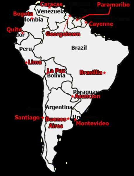 Map Of South America With Capitals HolidayMapQcom