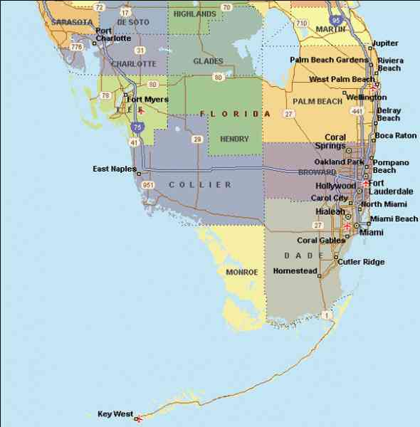 florida map of the south