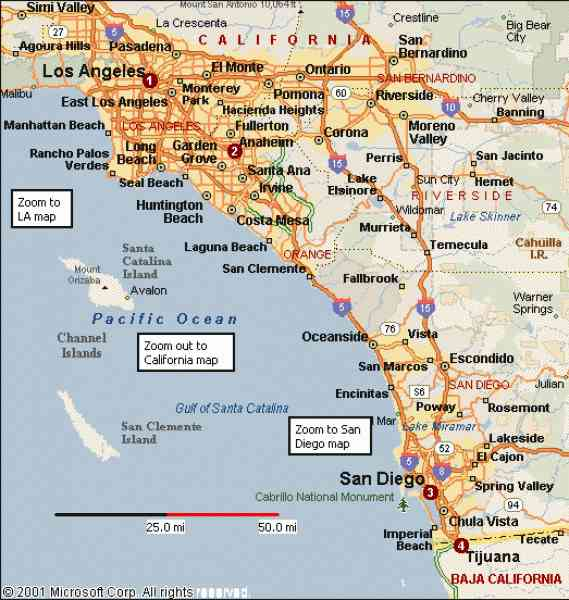 Map of southern california for Beach cities in california