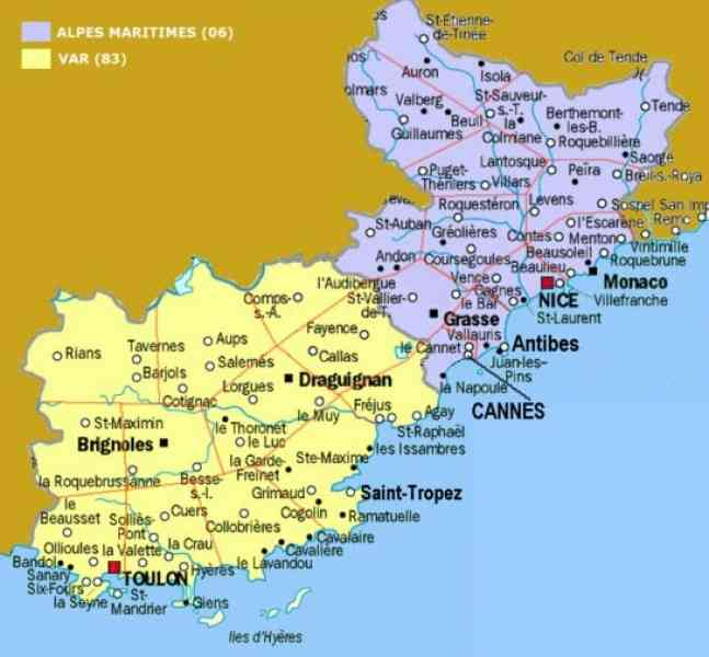 Map of southern france holidaymapq map of southern france gumiabroncs Images