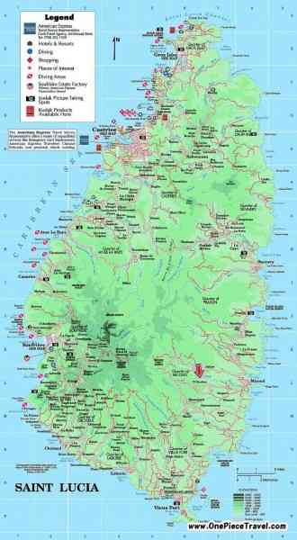map of st lucia 202 Map Of St Lucia