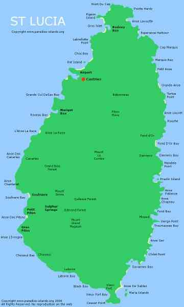 map of st lucia 312 Map Of St Lucia