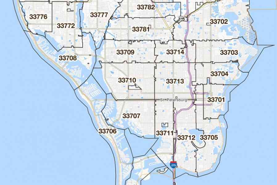 zip codes st petersburg florida map