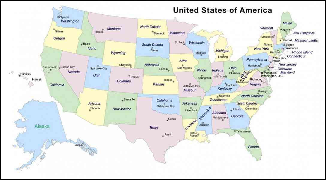 map of states and capitals 10 Map Of States And Capitals
