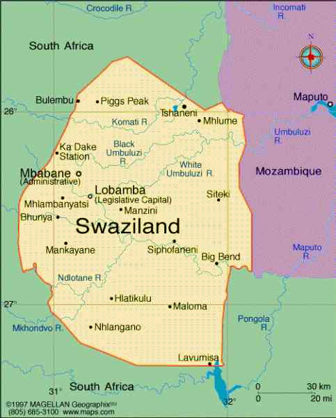map of swaziland 109 Map Of Swaziland