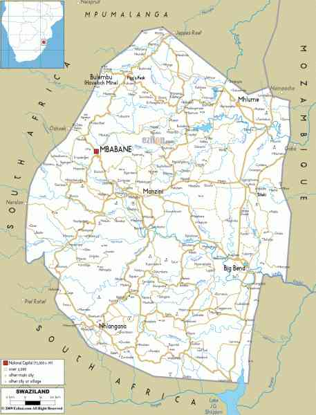 map of swaziland 380 Map Of Swaziland