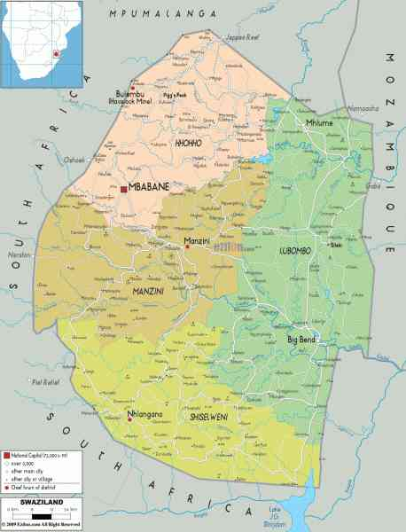map of swaziland 423 Map Of Swaziland