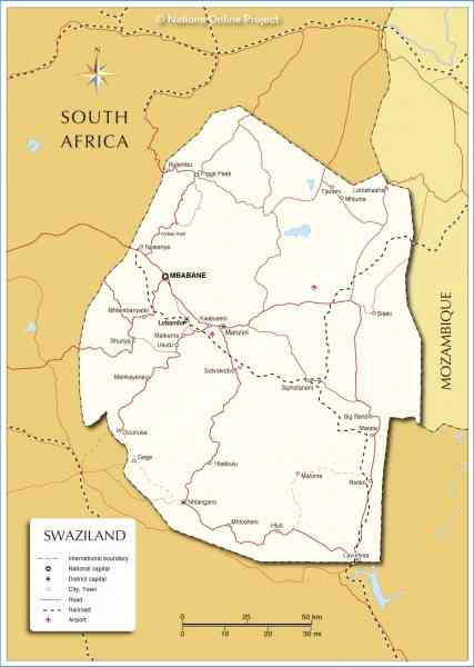 map of swaziland 703 Map Of Swaziland
