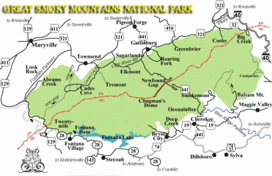 Map Of The Great Smoky Mountains Holidaymapq Com