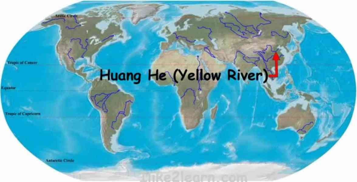 Map Of The Huang He River   HolidayMapQ.®