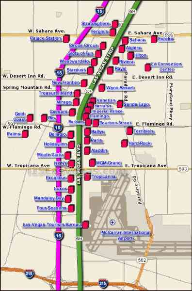 Map Of The Las Vegas Strip  Map  Holiday  Travel