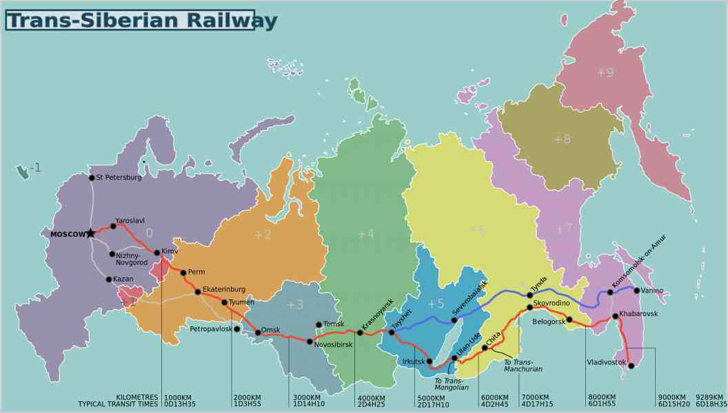 map of the trans siberian railroad 7 Map Of The Trans Siberian Railroad