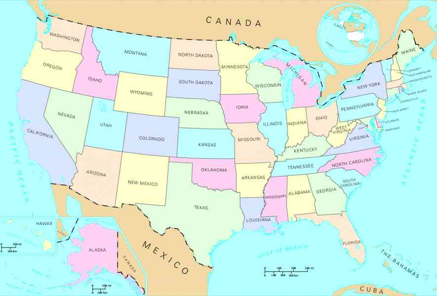 Map Of The U S States