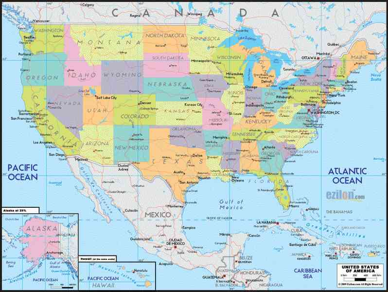 map of the united states political 61 Map Of The United States Political