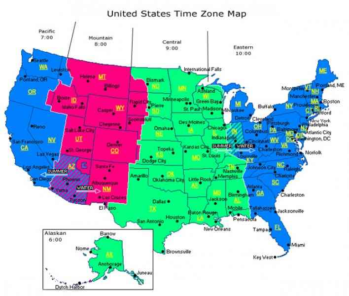 Time Zone Maps Usa My Blog - Us timezone map with times