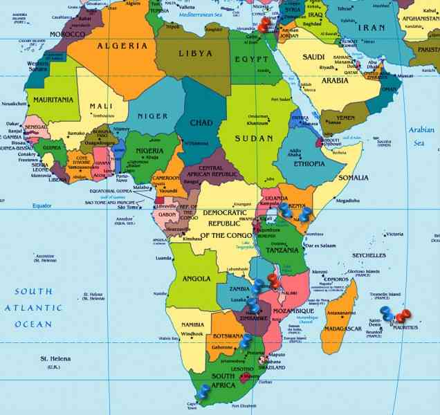 map of world africa