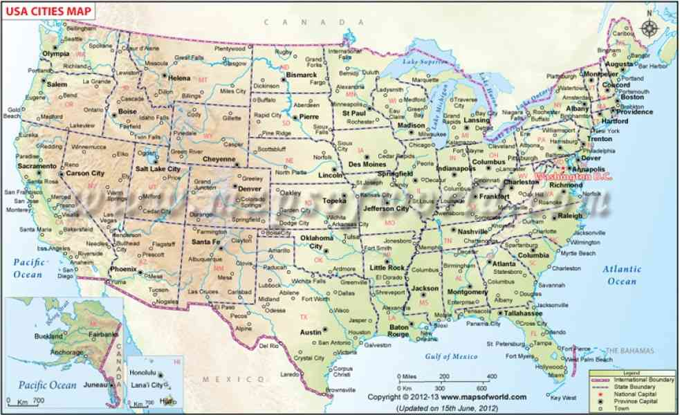 Map Of U S Cities Map Holiday Travel HolidayMapQcom - Us map with cities