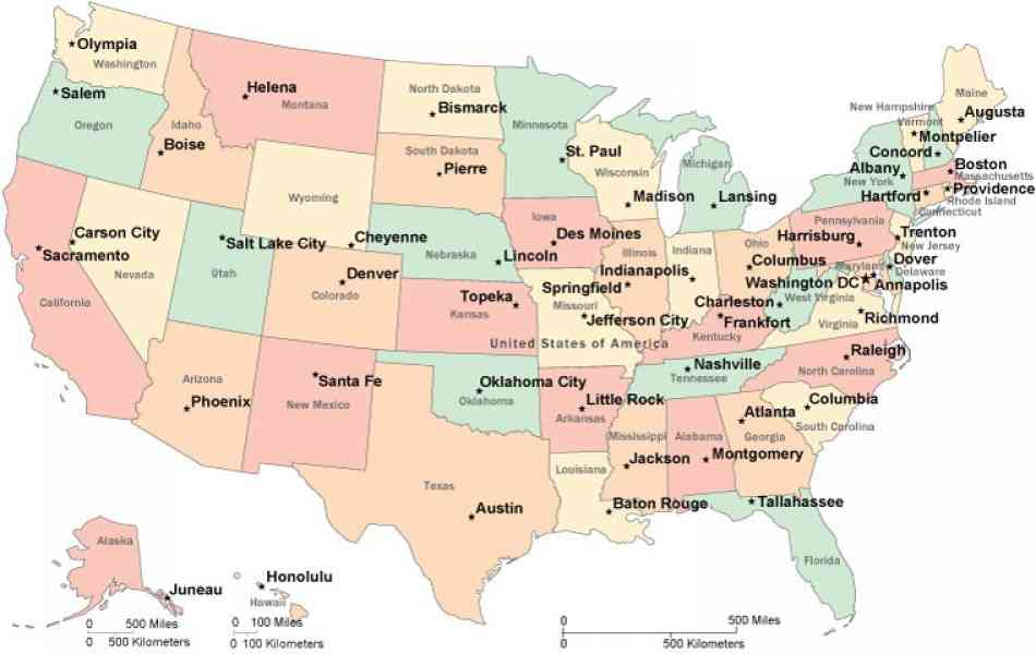 Us Map W States Globalinterco - Us state map with dc labaled