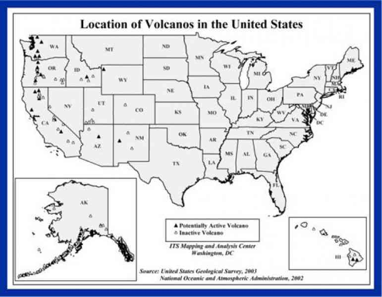 Map Of Active Volcanoes In The United States Thefreebiedepot - Map of us volcanoes