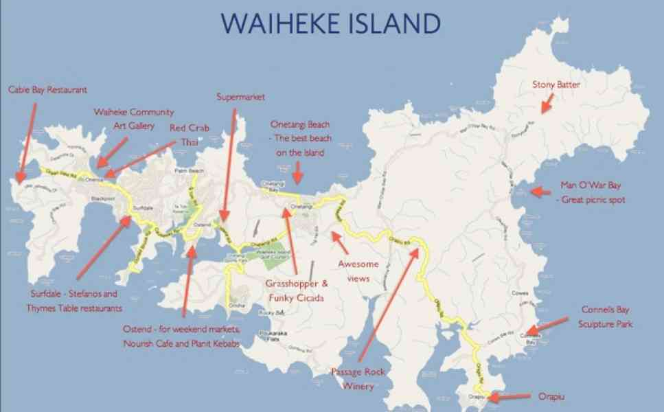 map of waiheke 531 Map Of Waiheke