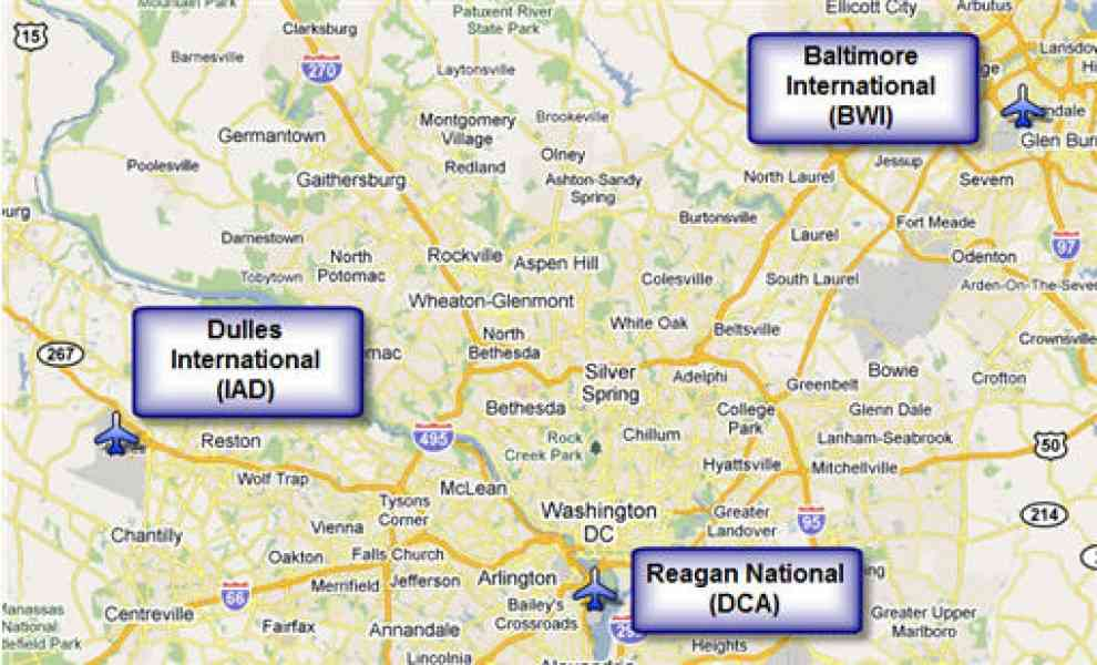Map Of Washington Dc Airports HolidayMapQcom