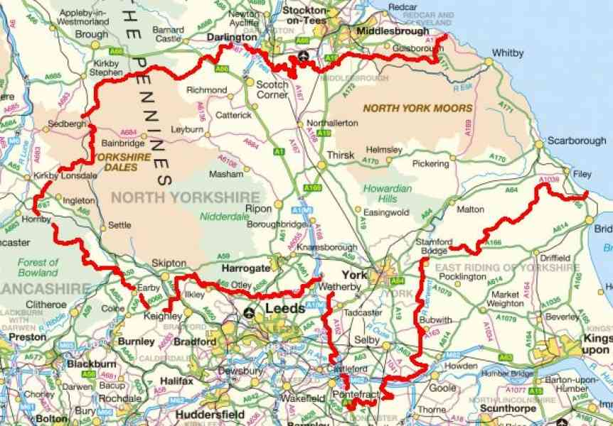 map of yorkshire uk 350 Map Of Yorkshire Uk