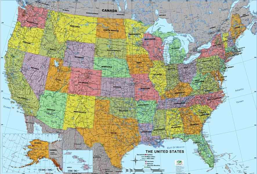 Map over usa for Best places to visit over christmas in the us