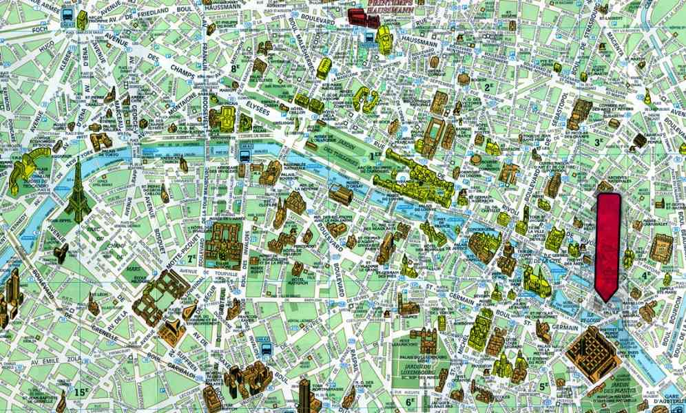 map paris tourist attractions