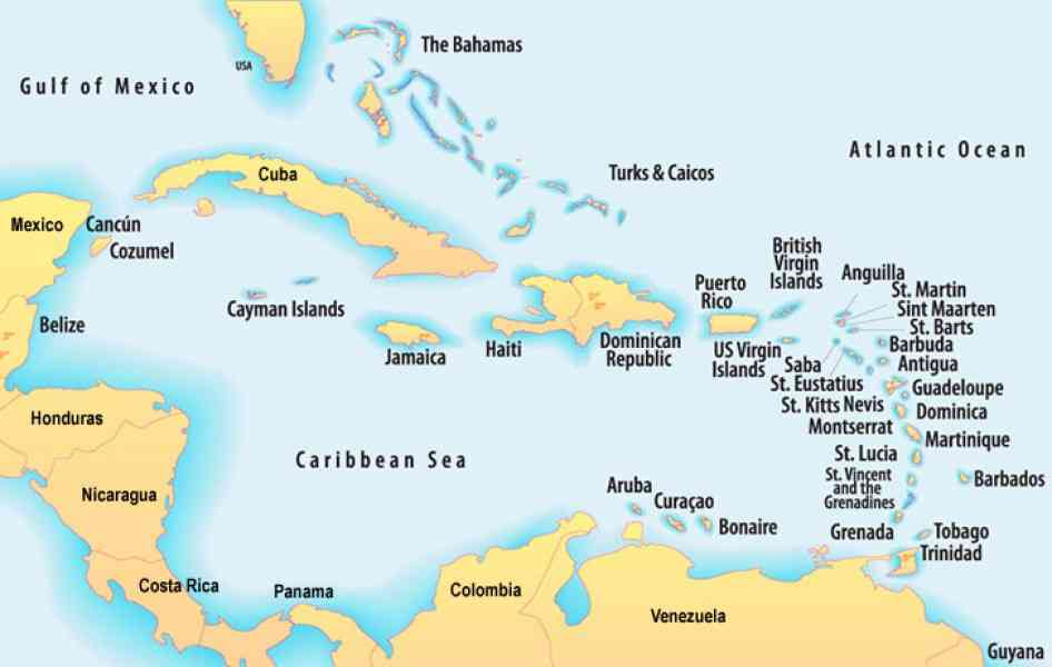 Map Southern Caribbean Map Holiday Travel HolidayMapQcom - Map of the southern us
