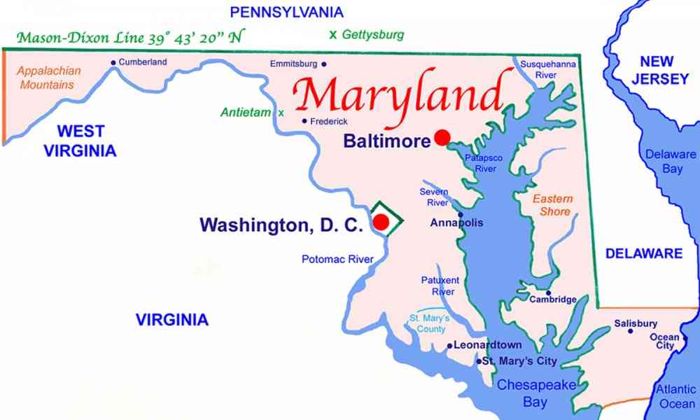 Map State Of Maryland Holidaymapq ®: State Of Maryland Map At Codeve.org