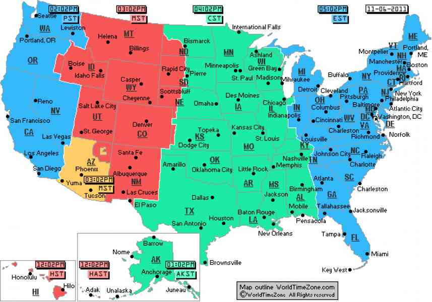 Time Zone And Area Code Map North America
