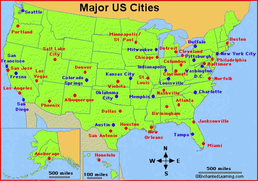 Map united states major cities for United states of america cities