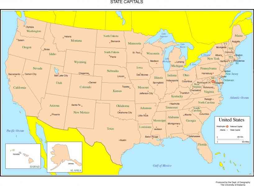 Map United States With Capitals HolidayMapQcom - Map of united states with capitals