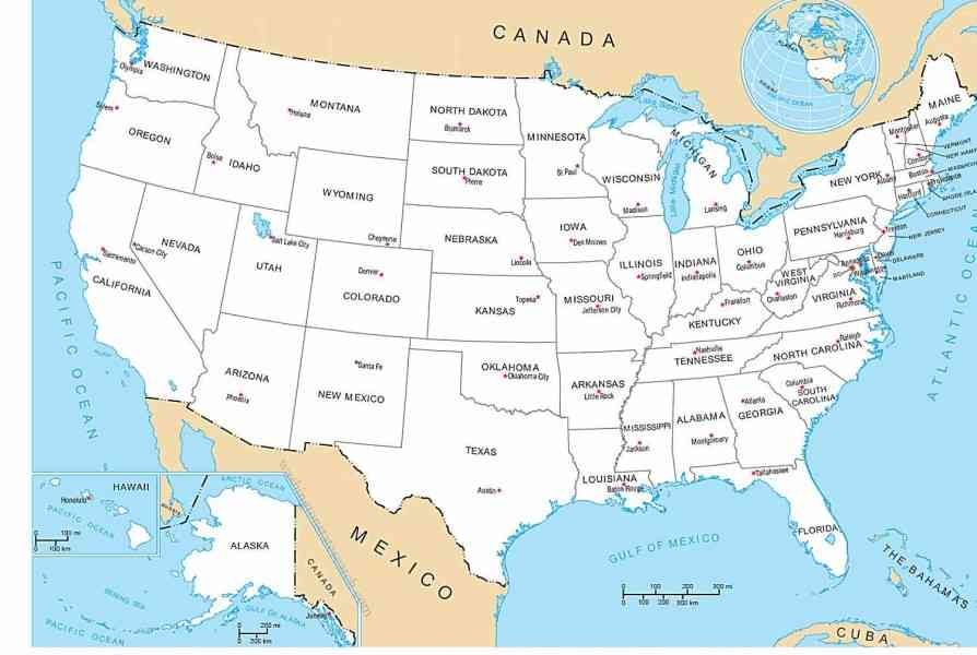 Map united states with capitals for United states of america cities