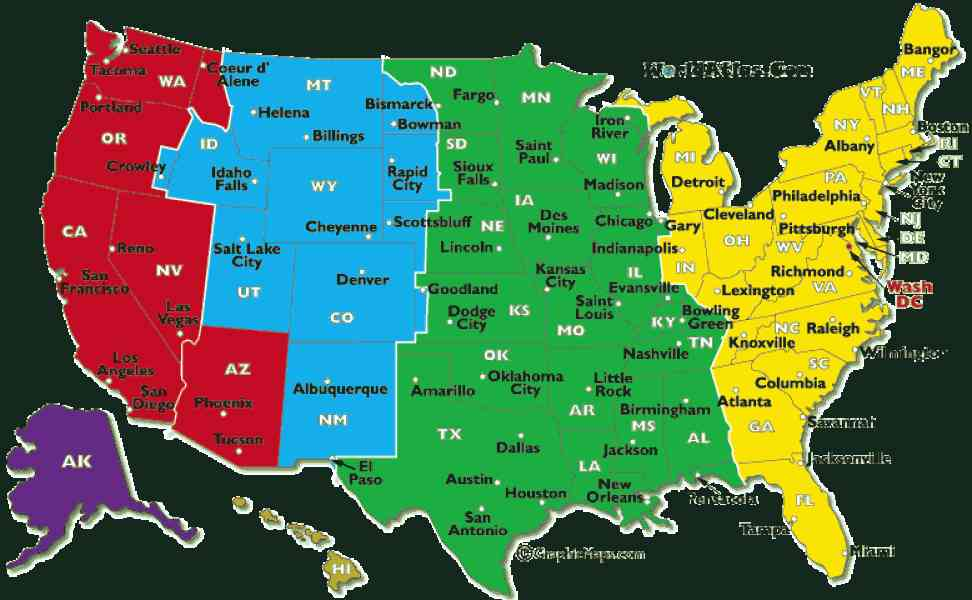 US Time Zone Map Timezonesmapcom USA Time Zones Map Timebie Time - Map us timezones